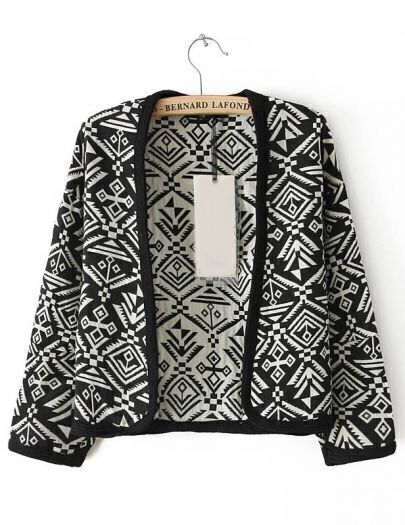 Black Long Sleeve Tribal Oracle Pattern Jacket