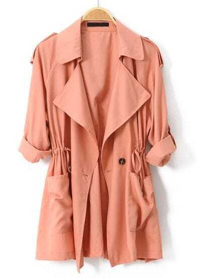 Pink Long Sleeve Epaulet Drawstring Trench Coat