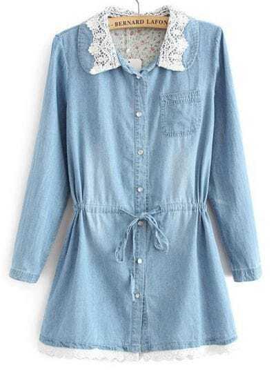Blue Long Sleeve Lace Lapel Drawstring Denim Dress