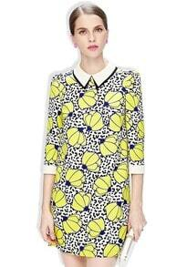 Yellow Floral Polka Dot Lapel Chiffon Dress