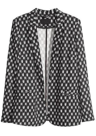 Black White Notch Lapel Long Sleeve Geometric Print Blazer