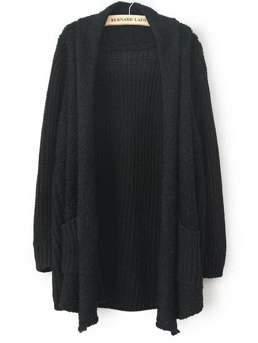 Black Long Sleeve Pockets Loose Cardigan Sweater -SheIn(Sheinside)