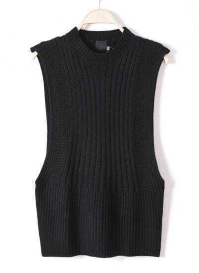Jersey asimétrica sin mangas-Negro