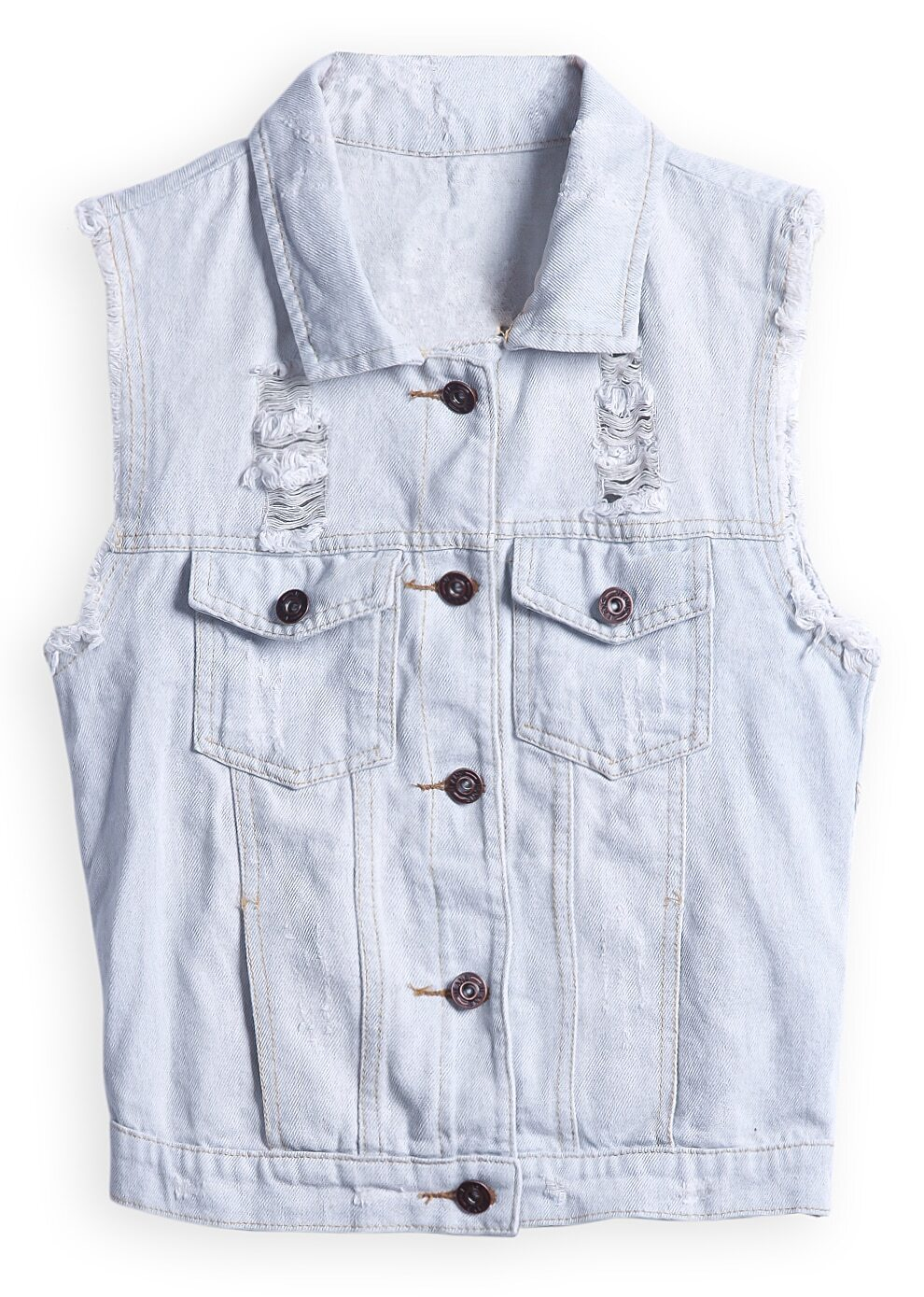 Light Blue Sleeveless Ripped Pockets Denim Jacket -SheIn(Sheinside)