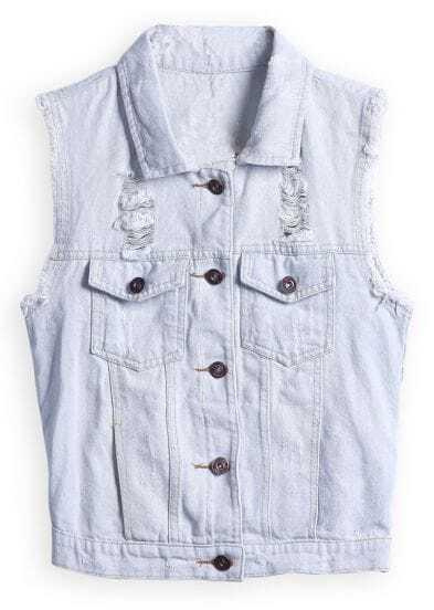 Light Blue Sleeveless Ripped Pockets Denim Jacket Shein
