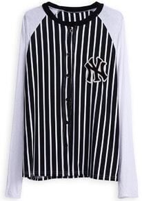 White Long Sleeve Vertical Stripe Buttons Jacket