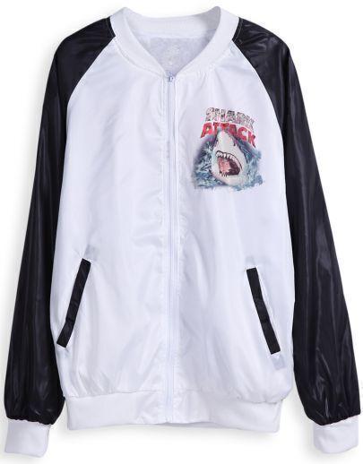 White Long Sleeve Zipper Shark Print Jacket