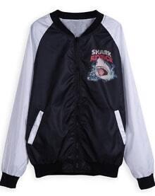 Black Long Sleeve Zipper Shark Print Jacket