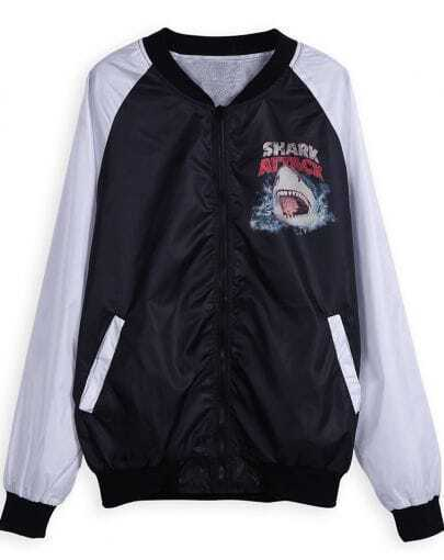 Black Long Sleeve Zipper Shark Print Jacket