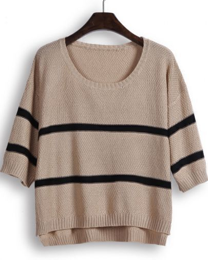 Camel Half Sleeve Striped Dipped Hem Knit Sweater