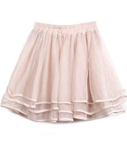 Falda de encaje con volantes-Rosa claro