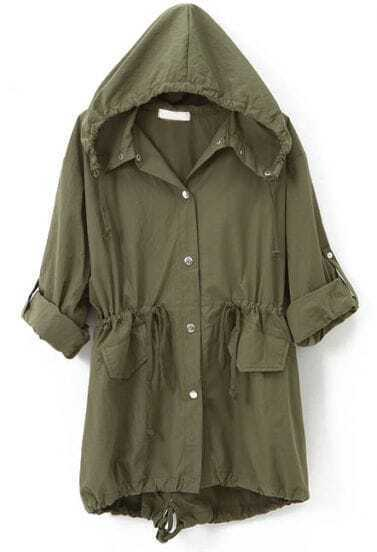 Army Green Hooded Drawstring Embroidery Trench Coat