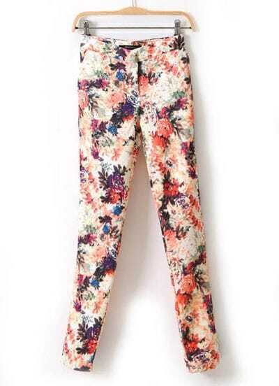 Apricot Ink Painting Print Zipper Pant