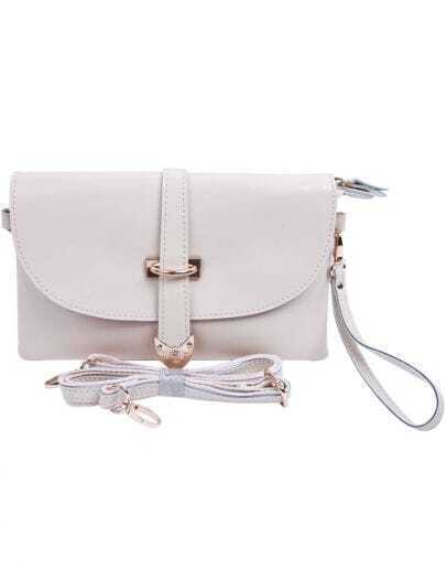 Beige Vintage Buckle Leather Shoulder Bag