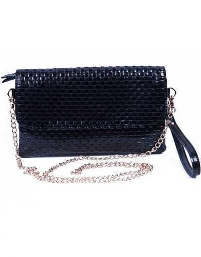 Black Zipper Lattice Leather Clutch Bag