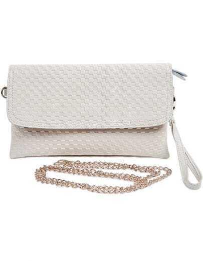 Beige Zipper Lattice Leather Clutch Bag