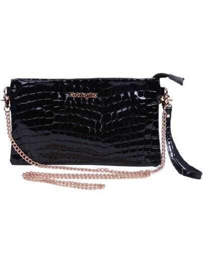 Black Fashion Crocodile Leather Clutch Bag