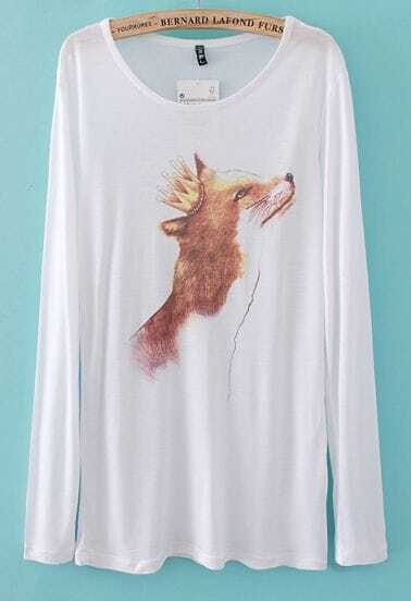 White Long Sleeve Imperial Crown Fox Print T-Shirt