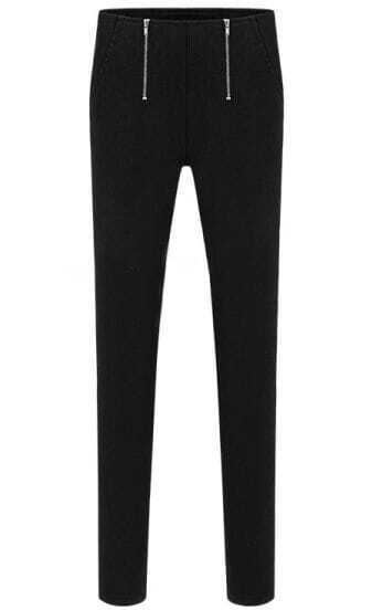 Black Casual Zipper Slim Pant