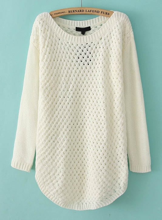 White Long Sleeve Hollow Knit Pullover Sweater -SheIn(Sheinside)