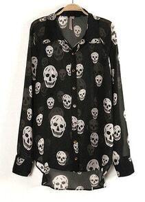 Black Long Sleeve Skull Print Sheer Blouse