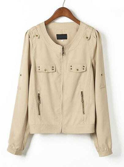 Khaki Long Sleeve Rivet Zipper Pockets Jacket