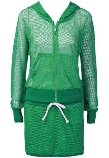 Green Hooded Long Sleeve Mesh Yoke Top With Skirt