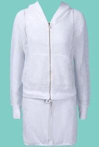 White Hooded Long Sleeve Mesh Yoke Top With Skirt