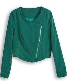 Green Long Sleeve Zipper Crop Jacket
