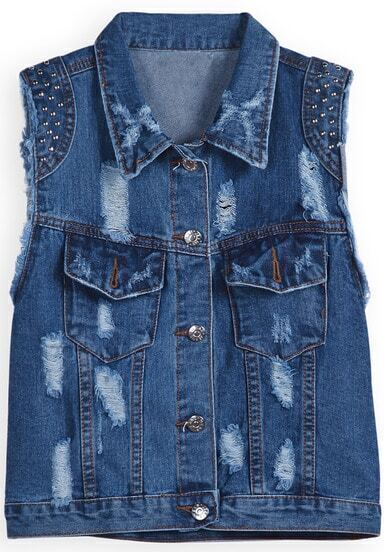 Blue Sleeveless Rivet Ripped Denim Jacket