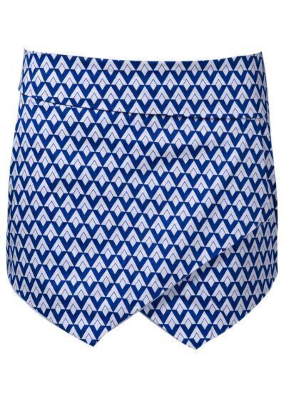 Blue White Diamond Print Shorts