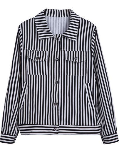Black White Vertical Stripe Long Sleeve Jacket
