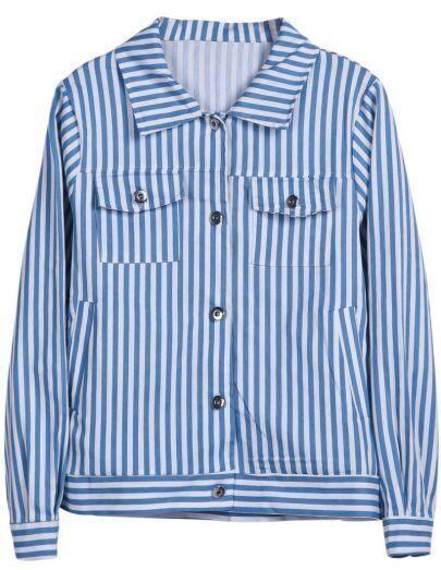 Blue White Vertical Stripe Long Sleeve Jacket