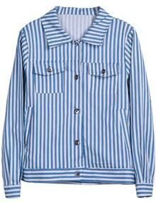 Blue White Vertical Stripe Long Sleeve Jacket
