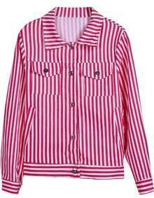 Red White Vertical Stripe Long Sleeve Jacket
