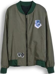 Army Green Long Sleeve Skull Print Jacket