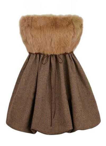 Coffee Strapless Fur Belt Pleated Dress