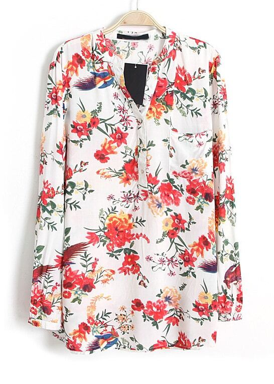 White V Neck Long Sleeve Floral Bird Print Blouse -SheIn(Sheinside)
