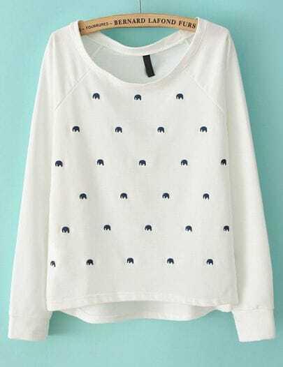 White Long Sleeve Elephant Embroidery Sweatshirt