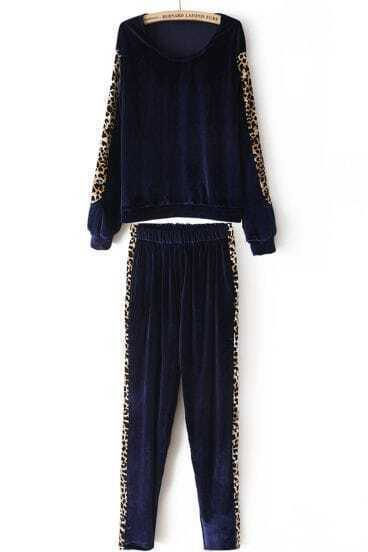 Navy Long Sleeve Contrast Leopard Top With Pant