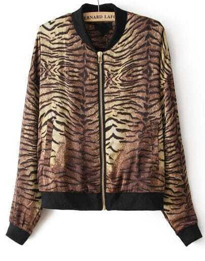 Leopard Stand Collar Long Sleeve Zipper Jacket