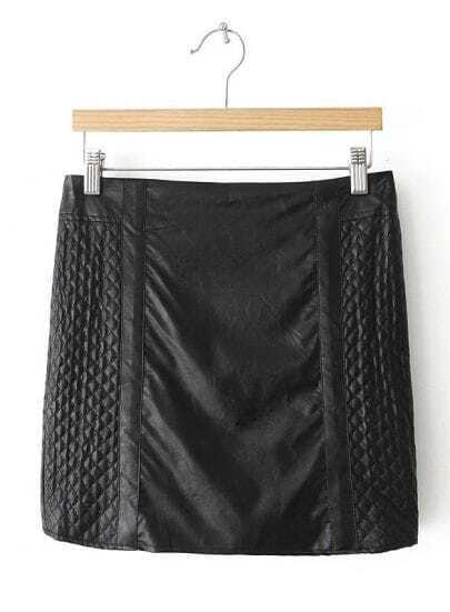 Black Plaid Bodycon Leather Skirt