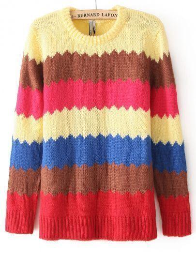 Вязанный свитер цветной