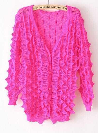 Rose Red V-neck Open Stitch Striped Cardigan