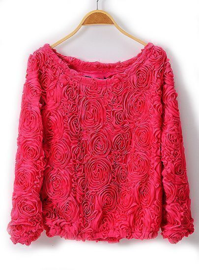 Rose Red Long Sleeve Overlay Lace Rosette Crop Top