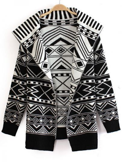 Black and White Wide Lapel Geometric Pattern Knitting Coat