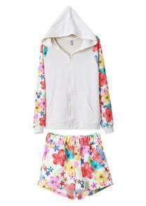 White Zip Up Hoodie Sweats with Florals Print Shorts