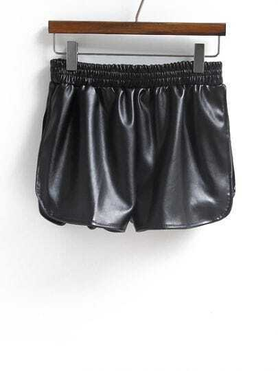 Shinning Black Curved Hem Shorts