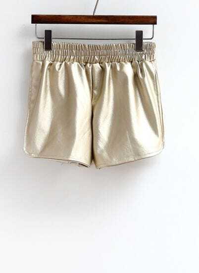 Shinning Gold Curved Hem Shorts