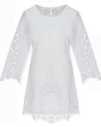 White Crop Sleeve Crochet Embroidered Shift Dress